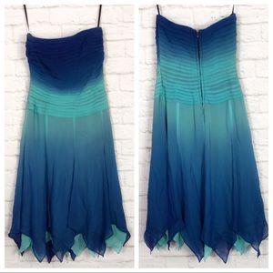 Lillie Rubin Ombré Silk Asymmetrical Cocktail Gown